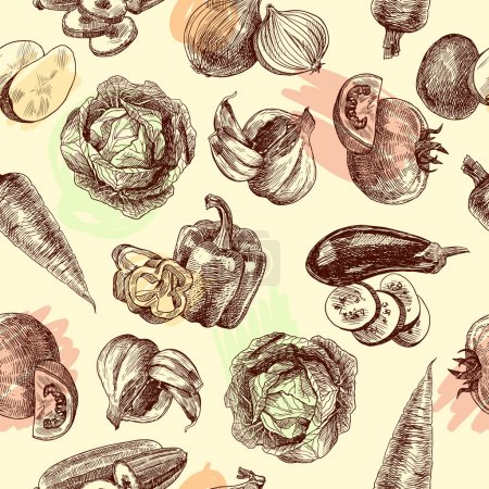 Vegetables sketch seamless pattern