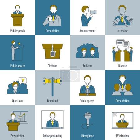 Illustration pour Icônes de ligne plate en public avec annonce de présentation de discours interview illustration vectorielle isolée - image libre de droit