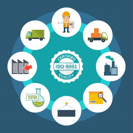Illustration for Quality control concept with certified label and shipping and test results icons vector illustration - Royalty Free Image