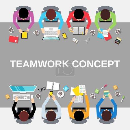 Illustration pour Équipe d'affaires concept de travail d'équipe vue du dessus groupe de personnes de bureau sur l'illustration vectorielle de table longue - image libre de droit