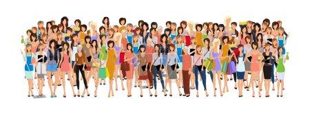 Illustration pour Grand groupe de femmes d'âge différent femmes professionnelles femmes d'affaires illustration vectorielle - image libre de droit