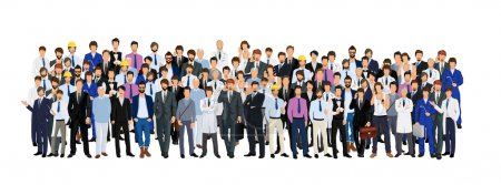 Illustration for Large group crowd of different age men male professionals businessmen vector illustration - Royalty Free Image
