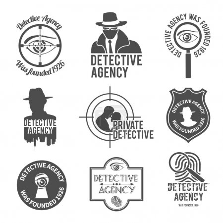 Illustration for Police private premium detective agency black labels badges and stamps set isolated vector illustration - Royalty Free Image
