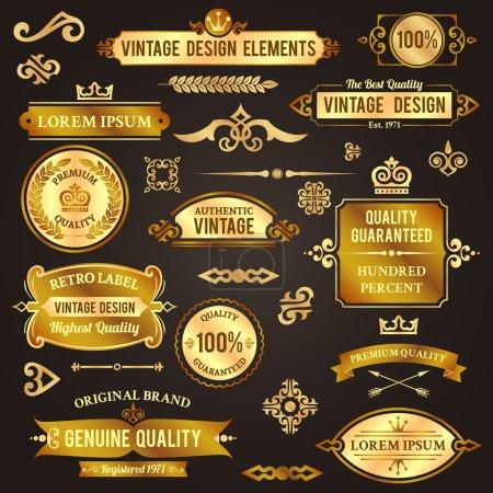 Vintage design elements golden