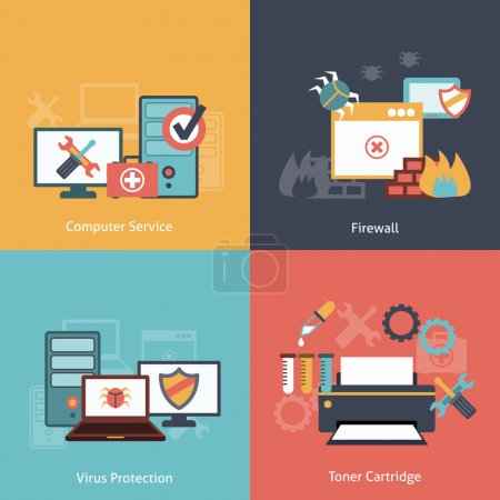 Illustration for Computer repair and  antivirus protection software installation service flat icons infographics with laser toner isolated vector illustration - Royalty Free Image