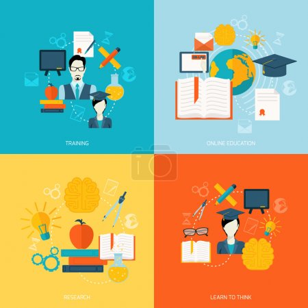 Illustration for Education school university online flat icons set with training research learn to think isolated vector illustration - Royalty Free Image