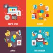 Graphic design flat icons set with branding creati...