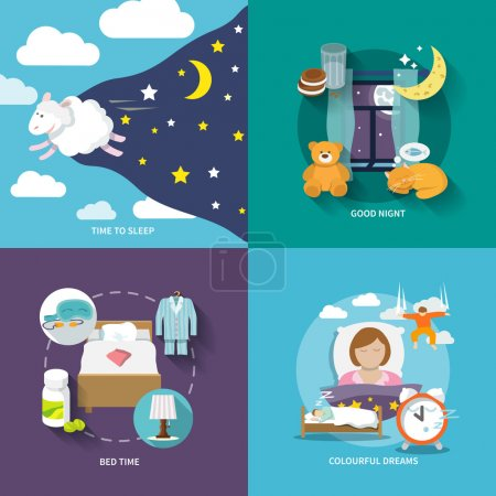 Illustration for Sleep time icons flat set with good night bed colourful dreams isolated vector illustration - Royalty Free Image