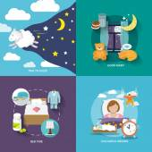 Sleep time icons flat set with good night bed colourful dreams isolated vector illustration