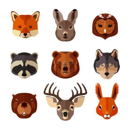 Illustration pour Portrait animal forestier icônes plates serties d'illustration vectorielle isolée de hibou renard - image libre de droit