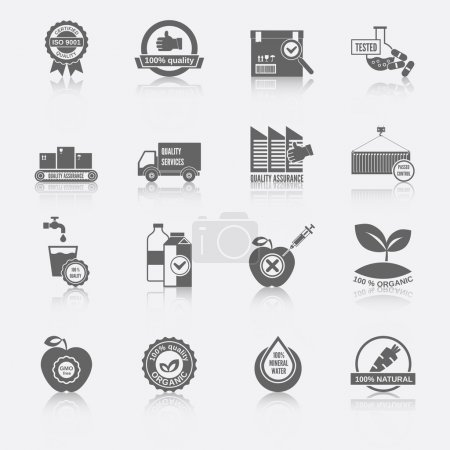 Illustration for Quality control certified quality checklist test services organic icons black set isolated vector illustration - Royalty Free Image