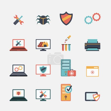 Illustration for Computer mobile tablet repair virus removal and battery replacement services flat icons set abstract isolated vector illustration - Royalty Free Image