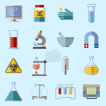 Illustration for Science and research laboratory icons set with monitor poison protective gloves flask isolated vector illustration - Royalty Free Image
