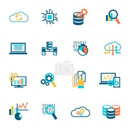 Illustration for Database analytics information technology network management icons flat set isolated vector illustration - Royalty Free Image