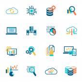 Databáze služby analytics ikony plochý
