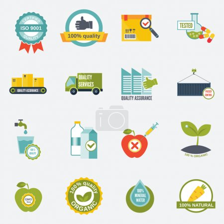 Illustration for Quality control certified quality test services icons flat set isolated vector illustration - Royalty Free Image