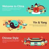 China travel asian traditional culture chinese style symbols banner set isolated vector illustration