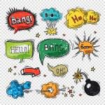 Comic speech bubble hand drawn design element symb...