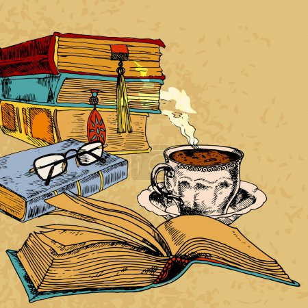 Cup of coffee and books