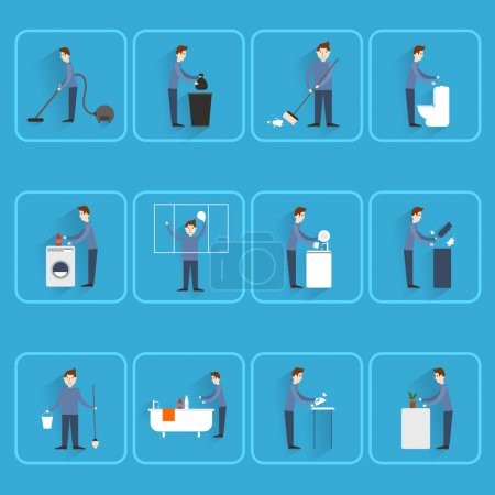 Cleaning people flat icons