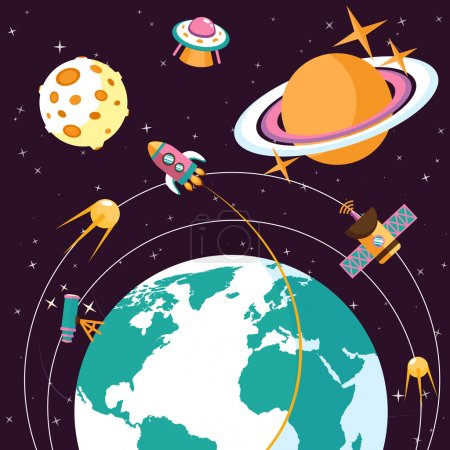 Illustration for Space concept with globe and rocket satellites astronauts on orbit flat vector illustration - Royalty Free Image