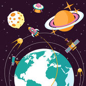 Space flat illustration