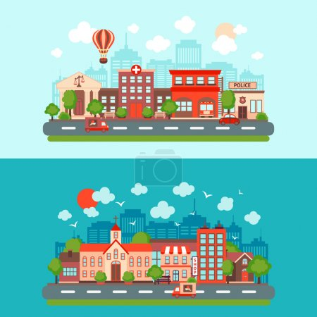 Photo for City summer street urban town scape abstract set light and dark background isolated vector illustration - Royalty Free Image