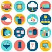 Data analysis database network technology settings icons flat set isolated vector illustration