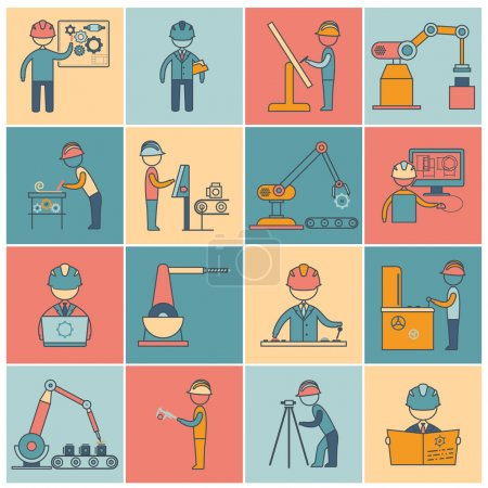 Illustration for Engineering equipment industrial manufacturing machine operators flat line icons set isolated vector illustration - Royalty Free Image