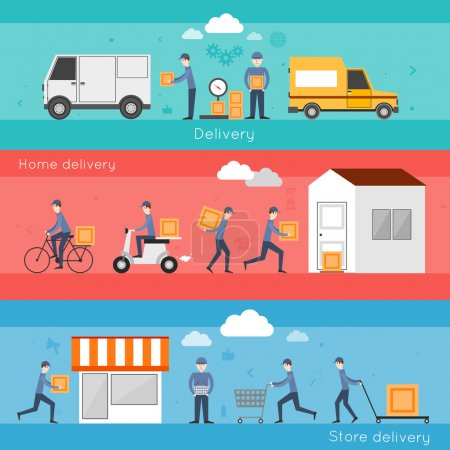 Illustration pour Delivery shipping banner set with food home store services isolated vector illustration - image libre de droit