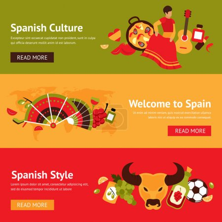 Illustration for Spain banner set with spanish culture style isolated vector illustration - Royalty Free Image