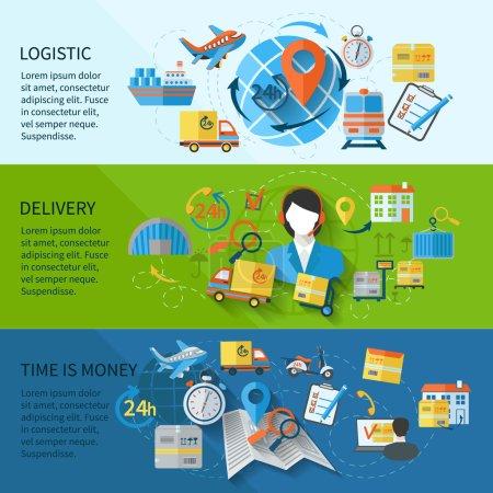 Ilustración de Logistic banner set with services time is money elements isolated vector illustration - Imagen libre de derechos