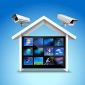 Video security concept with house and surveillance cameras 3d realistic vector illustration