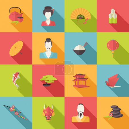 Illustration pour Icônes de voyage Japon ensemble plat avec parapluie bonsaï arbre origami isolé vecteur illustration - image libre de droit