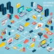 Data infographic isometric set with data center an...