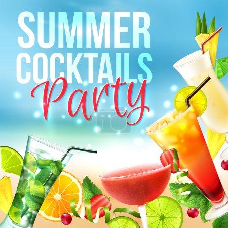 Illustration pour Cocktail party affiche d'été avec des boissons alcoolisées dans des verres sur fond bleu illustration vectorielle - image libre de droit