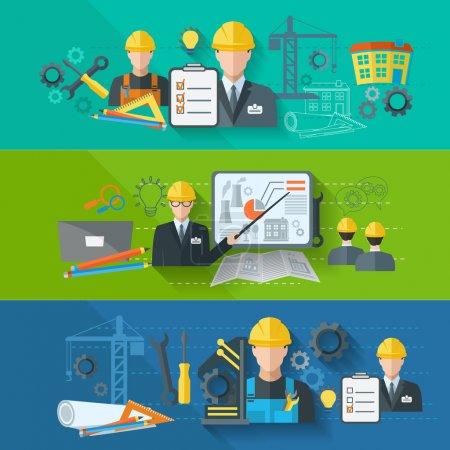 Illustration pour Ingénieur construction usine industrielle fabrication travailleurs plat bannière ensemble isolé vectoriel illustration - image libre de droit