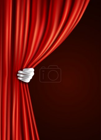 Illustration for Theater stage red velvet open retro style curtain with human hand in glove background vector illustration. - Royalty Free Image