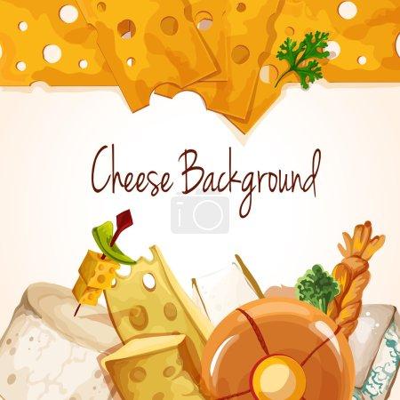 Illustration pour Naturel délicieux délicieux fromage biologique assortiment alimentaire coloré fond vectoriel illustration - image libre de droit