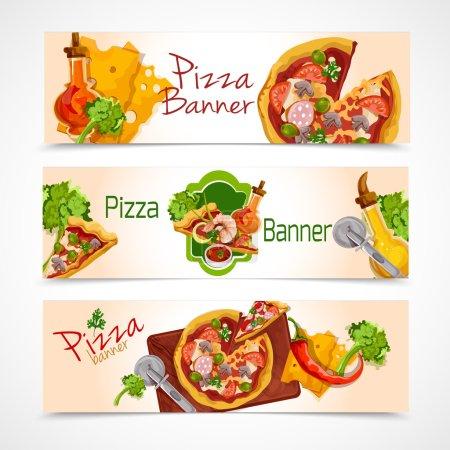 Illustration pour Délicieuses tranches de nourriture découpées à la pizza bannières horizontales ensemble illustration vectorielle isolée - image libre de droit