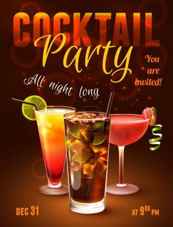 Illustration pour Affiche de cocktail avec boissons alcoolisées dans des verres sur fond sombre illustration vectorielle . - image libre de droit