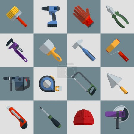 Illustration for Repair and construction tools flat icons set with hammer saw screwdriver isolated vector illustration - Royalty Free Image