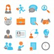 Job interview colored icons set with handshake sal...