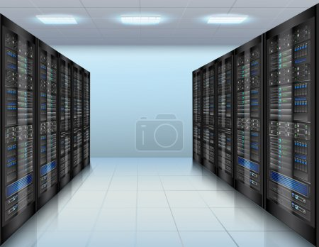 Illustration pour Concept de centre de données avec serveur réseau base de données matériel informatique salle vectoriel illustration - image libre de droit