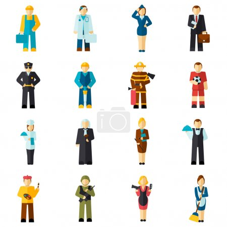 Photo for Avatar professions flat avatars set with fireman pilot worker doctor isolated vector illustration - Royalty Free Image