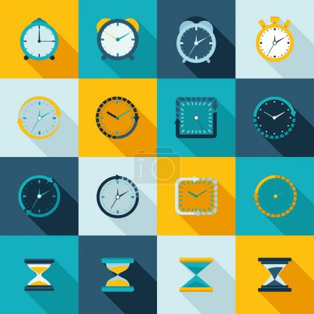 Illustration for Alarm clock old sand watch stopwatch timer icons flat set isolated vector illustration - Royalty Free Image