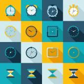 Clock icon flat set