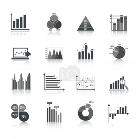 Business chart icons set