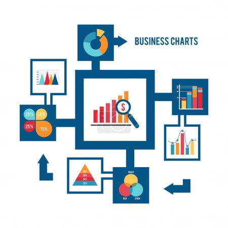 Illustration for Business strategy and statistic charts graphs and diagrams flat decorative icons set vector illustration - Royalty Free Image