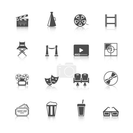 Illustration pour Cinéma noir icônes rétro ensemble avec cinéma boissons rafraîchissement billets d'entrée caméra noir isolé vecteur illustration - image libre de droit